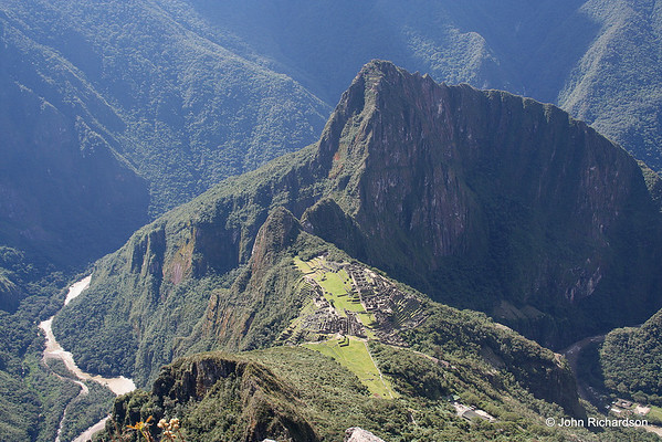 view from Machu Picchu Peak of the site below