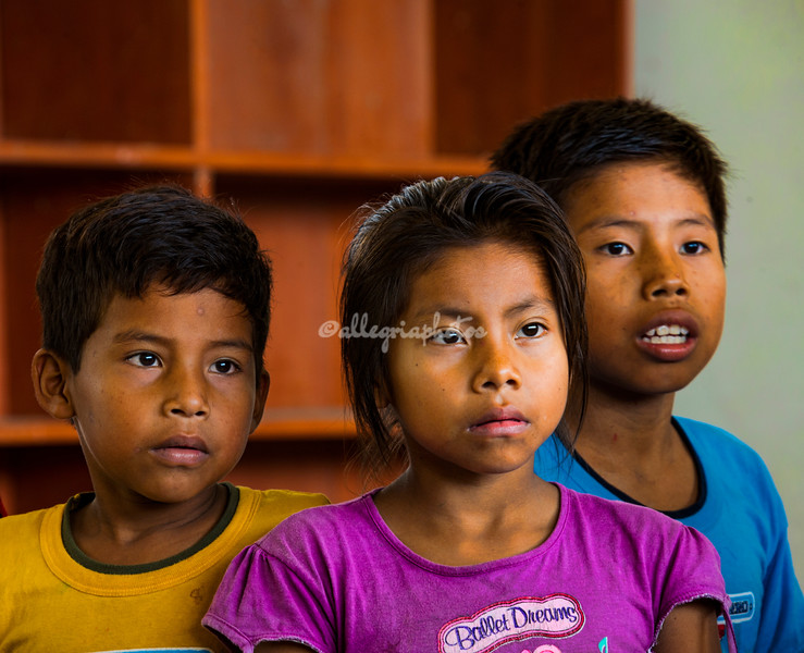 Children at the San Francisco elementary school, Upper Amazon, Peru