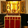 All Saints Altar with red St Nicholas frontal