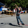 Isreal Rosado, 8, shoots some hoops during the Latino Heritage Month Festival put on by the United Neighbors of Fitchburg on Saturday afternoon. SENTINEL & ENTERPRISE / Ashley Green