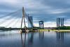 A bridge over the Daugava River in Riga, Latvia.