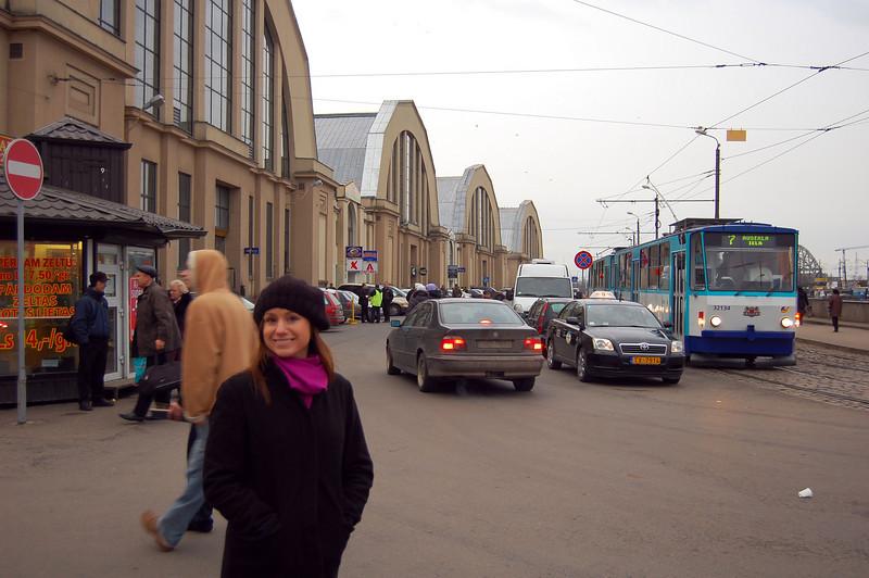 Outside the Riga market