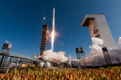 A United Launch Alliance Atlas V rocket lifts off from SLC-3 at Vandenberg Air Force Base with NASA's Landsat Data Continuity Mission.