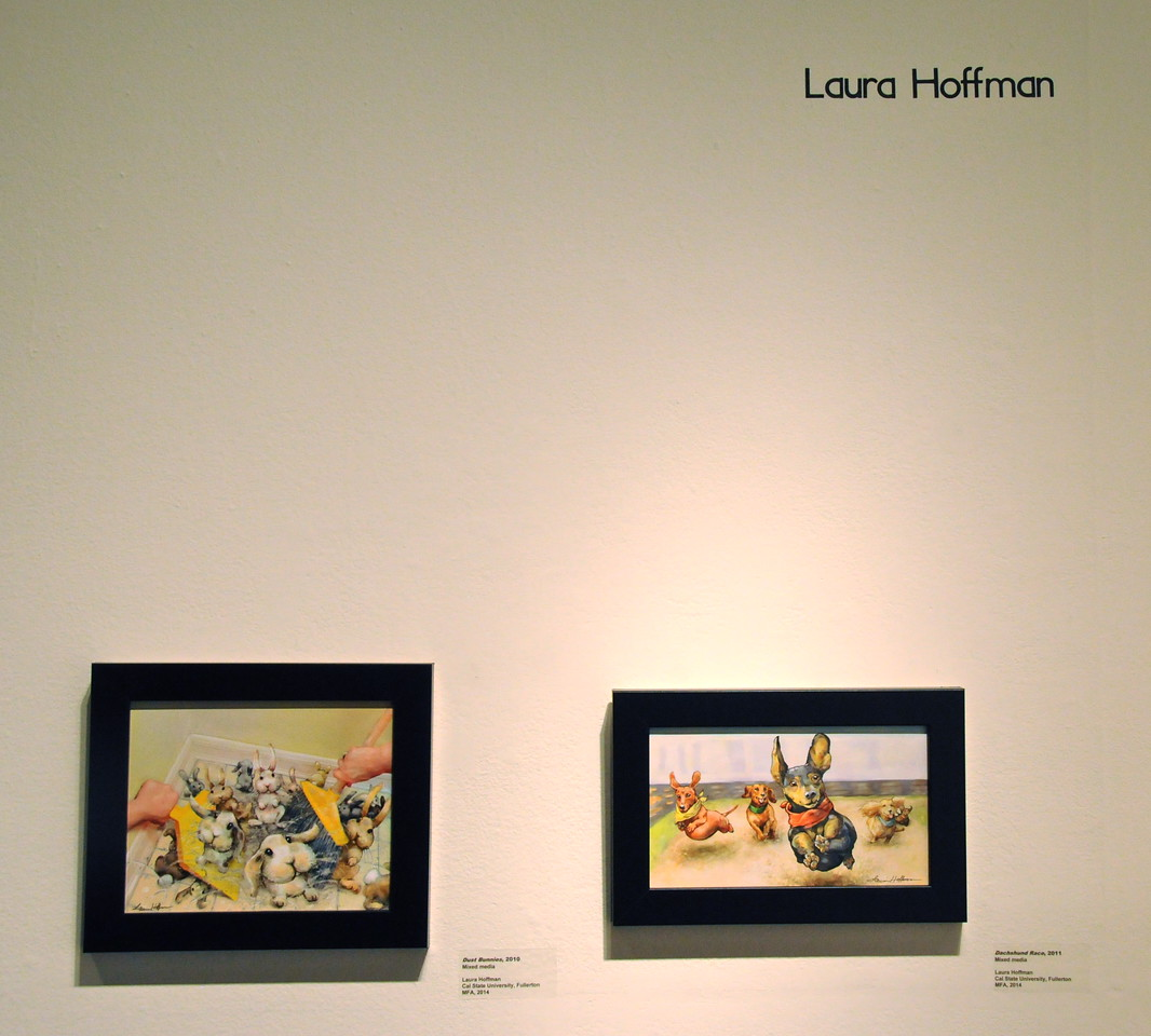 Laura Hoffman's Dust Bunnies and Racing Dachshunds<br /> Artwork on display at the City of Brea Art Gallery<br /> MFA Graduate Show<br /> January 28, 2012