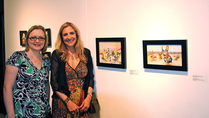 Hala Swearingen (Professor at CSUF) and Laura Hoffman, at Brea Art Gallery Show Opening, January 28, 2012<br /> MA/MFA Show
