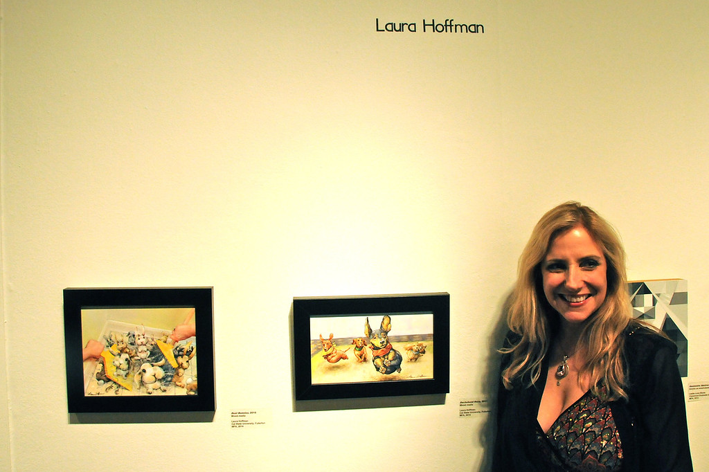 Laura Hoffman with<br /> Artwork on display at the City of Brea Art Gallery<br /> MFA Graduate Show<br /> January 28, 2012