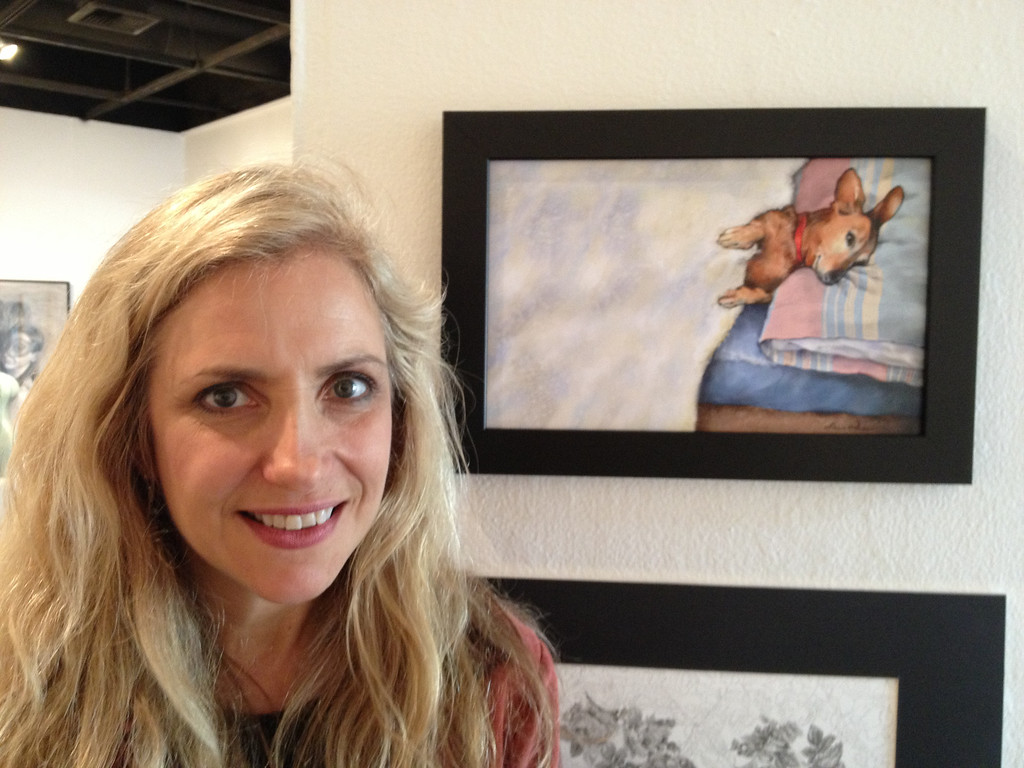 Once More With Feeling Juried Art Exhibit, CSUF West Gallery - Laura Hoffman in front of her painting, Penelope in Bed