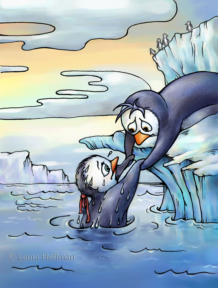 """Illustration for Page 10<br /> Penny the Rude Penguin<br /> Reader for 1st Graders - Reading A-Z<br /> Mixed Media<br /> By Laura Hoffman<br /> <br />  <a href=""""http://www.readinga-z.com/book.php?id=1634"""">http://www.readinga-z.com/book.php?id=1634</a>"""