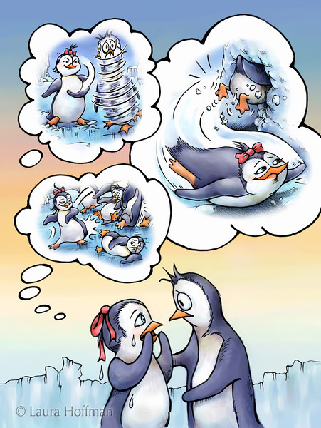 """Illustration for Page 11<br /> Penny the Rude Penguin<br /> Reader for 1st Graders - Reading A-Z<br /> Mixed Media<br /> By Laura Hoffman<br /> <br />  <a href=""""http://www.readinga-z.com/book.php?id=1634"""">http://www.readinga-z.com/book.php?id=1634</a>"""