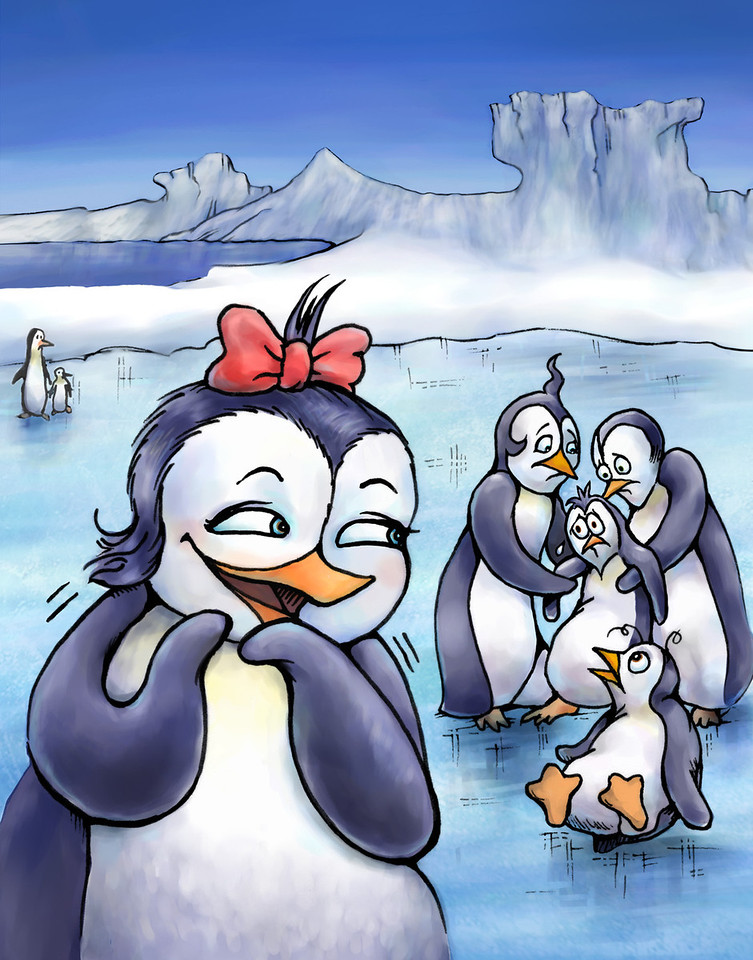"""Illustration for Page 6<br /> Penny the Rude Penguin<br /> Reader for 1st Graders - Reading A-Z<br /> Mixed Media<br /> By Laura Hoffman<br /> <br />  <a href=""""http://www.readinga-z.com/book.php?id=1634"""">http://www.readinga-z.com/book.php?id=1634</a>"""