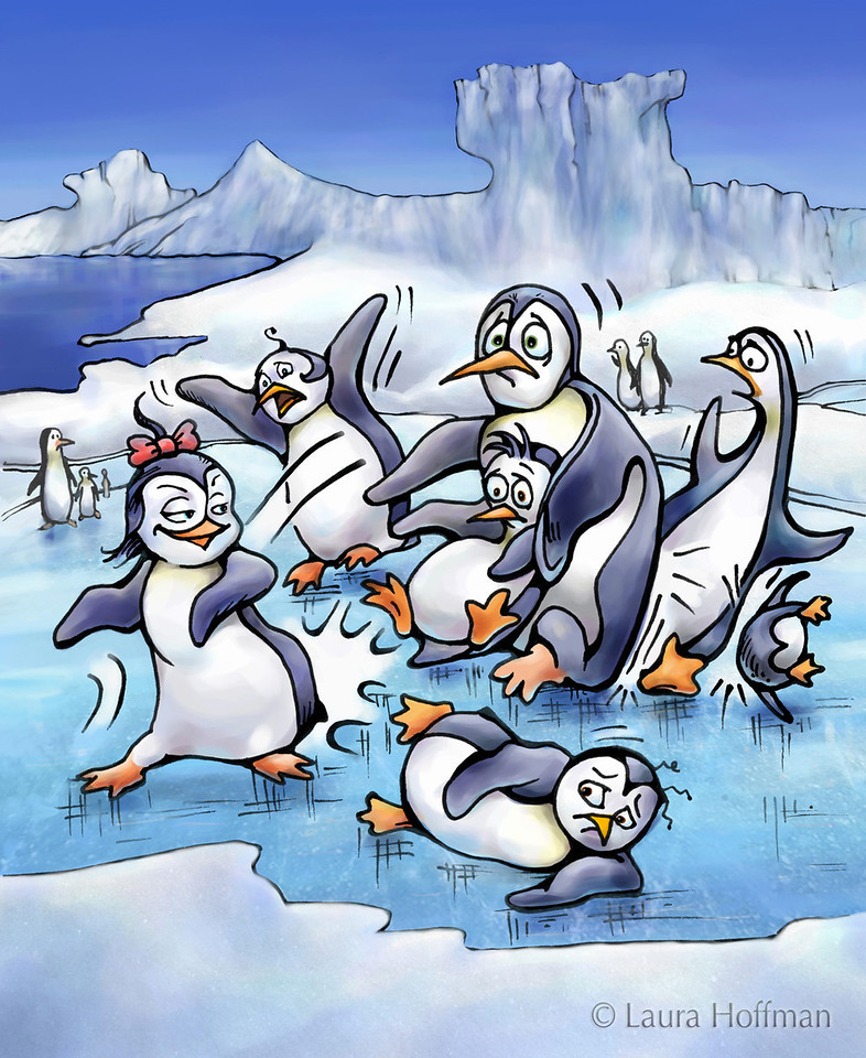 """Illustration for Page 5<br /> Penny the Rude Penguin<br /> Reader for 1st Graders - Reading A-Z<br /> Mixed Media<br /> By Laura Hoffman<br /> <br />  <a href=""""http://www.readinga-z.com/book.php?id=1634"""">http://www.readinga-z.com/book.php?id=1634</a>"""