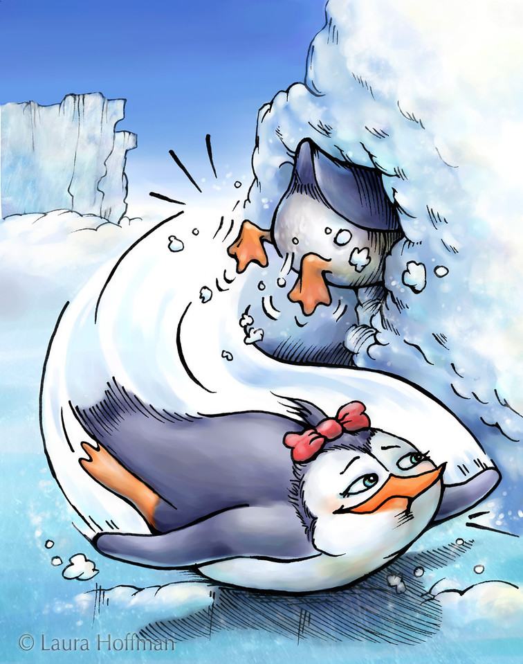 """Illustration for Page 7<br /> Penny the Rude Penguin<br /> Reader for 1st Graders - Reading A-Z<br /> Mixed Media<br /> By Laura Hoffman<br /> <br />  <a href=""""http://www.readinga-z.com/book.php?id=1634"""">http://www.readinga-z.com/book.php?id=1634</a>"""