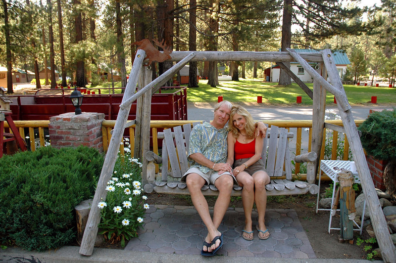 Ted and Laura Hoffman on swing, Lake Tahoe, California - Family reunion