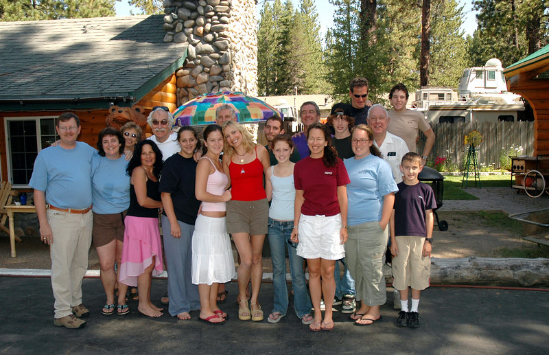 Group shot, Lake Tahoe family reunion of Altmans wearing shirts