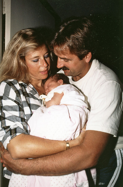 Newborn Jessie<br /> with her parents<br /> Jean & Joel Pasco<br /> May, 1989