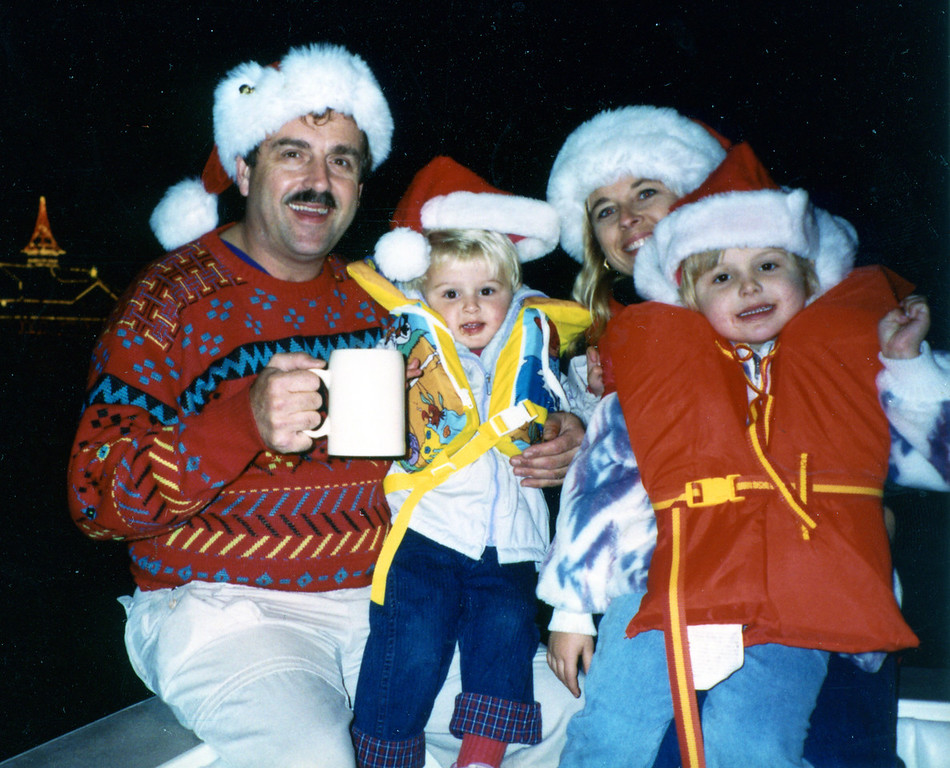 Joel Pasco, Andy, Jean & Jessica<br /> Newport Harbor Boast Parade<br /> December 1992