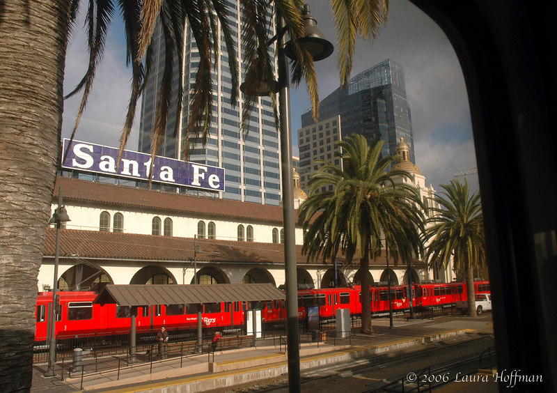 View from an Amtrak train leaving San Diego Train Station Depot