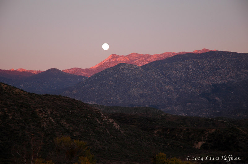 Moonrise over San Jacinto mountains from Hemet, California