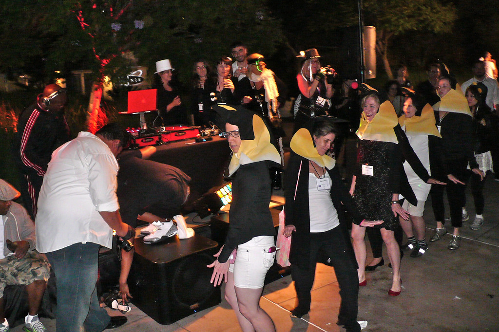 Penguins get down at the SCBWI 2013 Black & White gala dance.