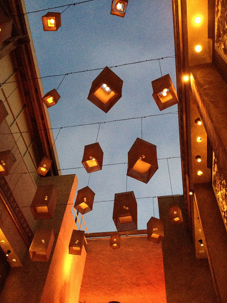 Cool lamps floating above the RockSugar Pan Asian Kitchen in Century CIty, Los Angeles.