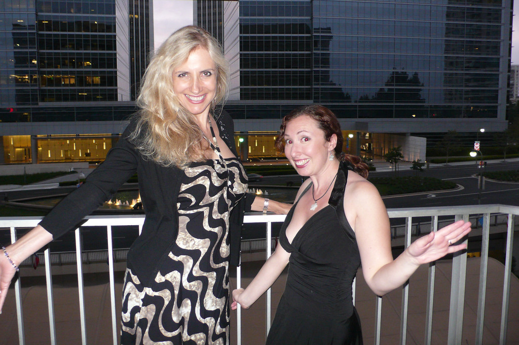 Laura Hoffman and Heather Soodak get ready for the 2013 SCBWI Summer conference Black & White gala in Los Angeles.