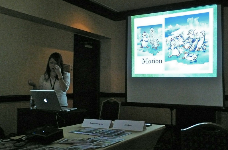Jen Lum, art director for Learning A-Z, explains how illustrating action is vital to story telling. Showing motion examples from 'Penny the Rude Penguin,' a book I illustrated for them in 2012.