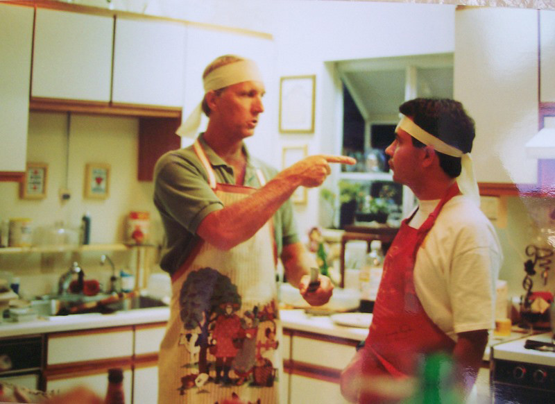 Ted Hoffman in Joel Pasco's kitchen<br /> Making sushi?<br /> 1990