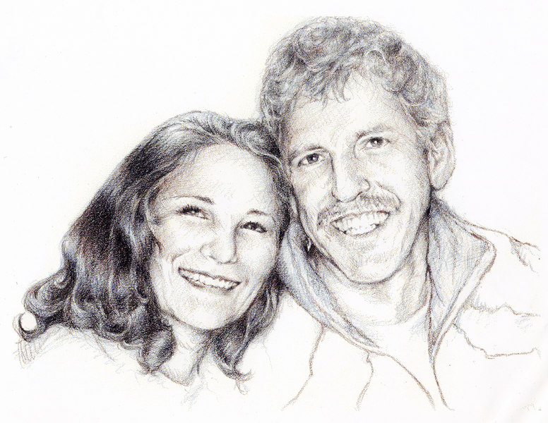 A sketch I made of my brother Andy and his wife, Reyna