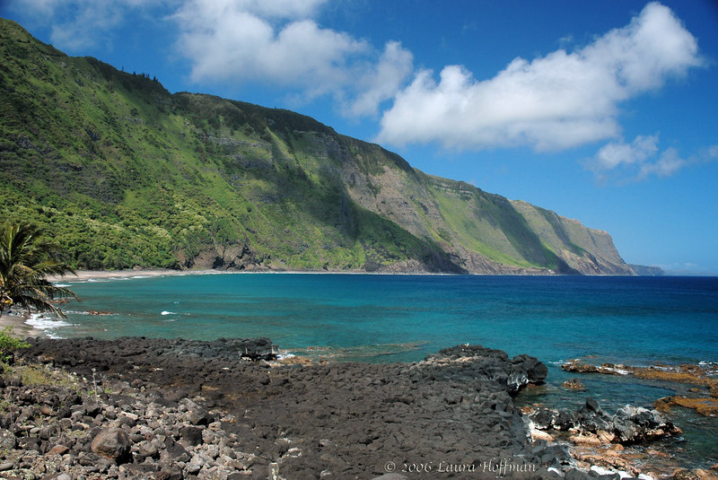 Molokai Kalaupapa Black Sand Beach, Hawaii