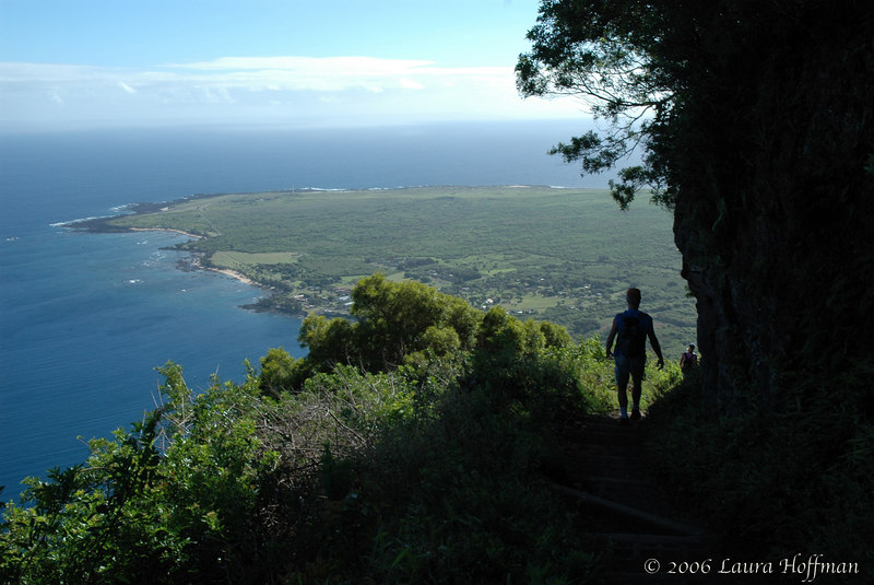 Ted Hoffman hiking on the Pali trail to Kalaupapa, Hawaii