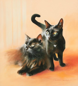 """Willow and Zoe"" 17"" x  20"" Pastels on paper"