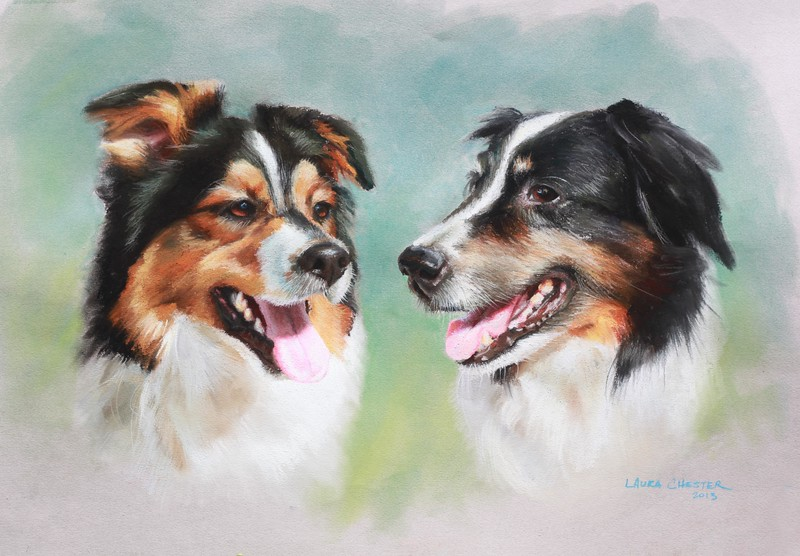 "Drake and Riley <br /> Pastel on Paper 25""x19""<br /> 2013"