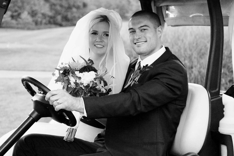 Taking a spin in the golf cart after vows!