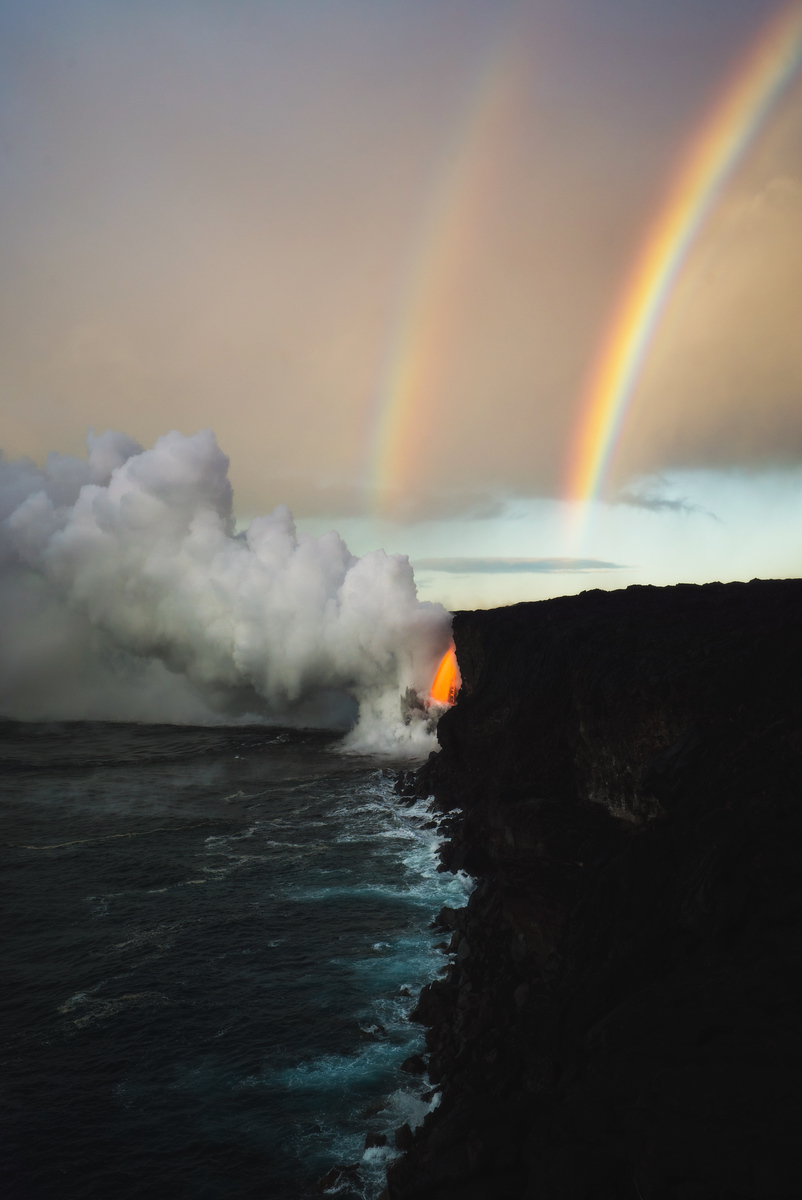 Double Rainbows Over Hawaii Volcanoes National Park