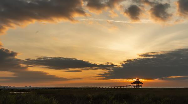 The sun peaks above the Gazebo @ Lighthouse Beach in Port Lavaca, Texas