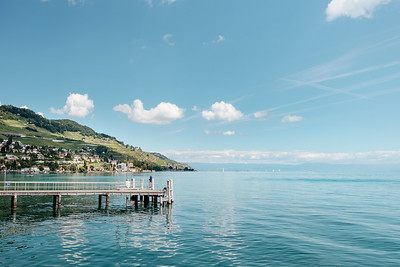 Fishing on a boat pier in Lavaux