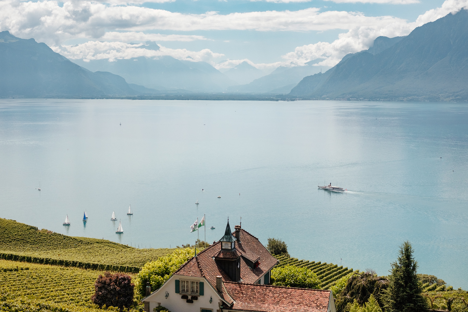 Looking at the Bouveret from Lavaux, boats on the lake Geneva