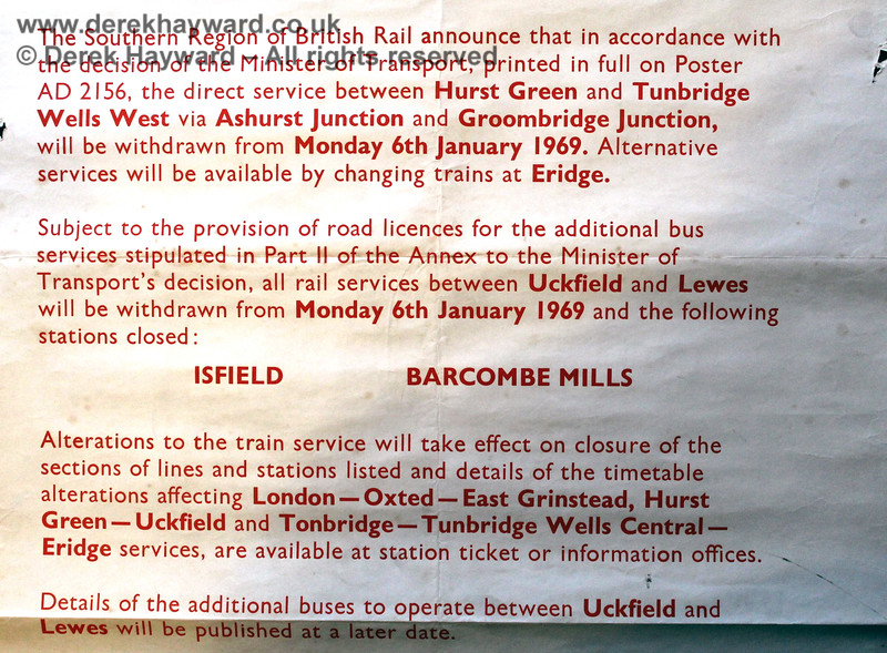 A close up of the wording of the British Rail closure notice, dated 17. 10.1968. Eric Kemp retains all rights to this image.