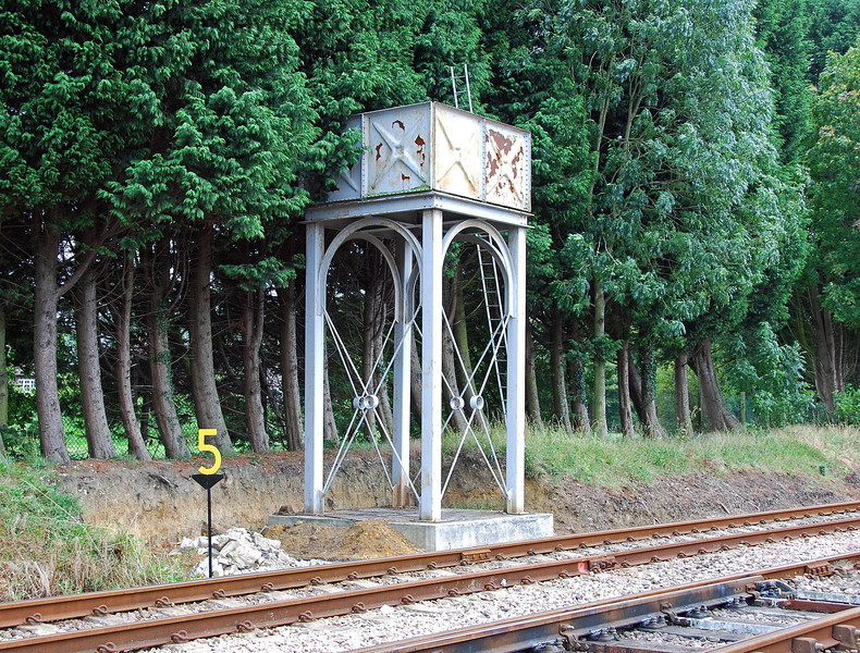 Isfield water tower, looking south.  The small area behind the speed limit sign had been cleared in preparation for the construction of a shed for the Wickham Trolley. 02.09.2007