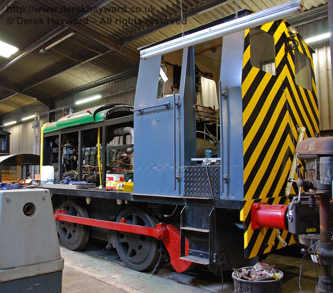 Andrew Barclay Diesel Mechanical 0-4-0 No15 (known as Vulcan) under restoration in Isfield shed. 02.09.2007 (This locomotive is privately owned)