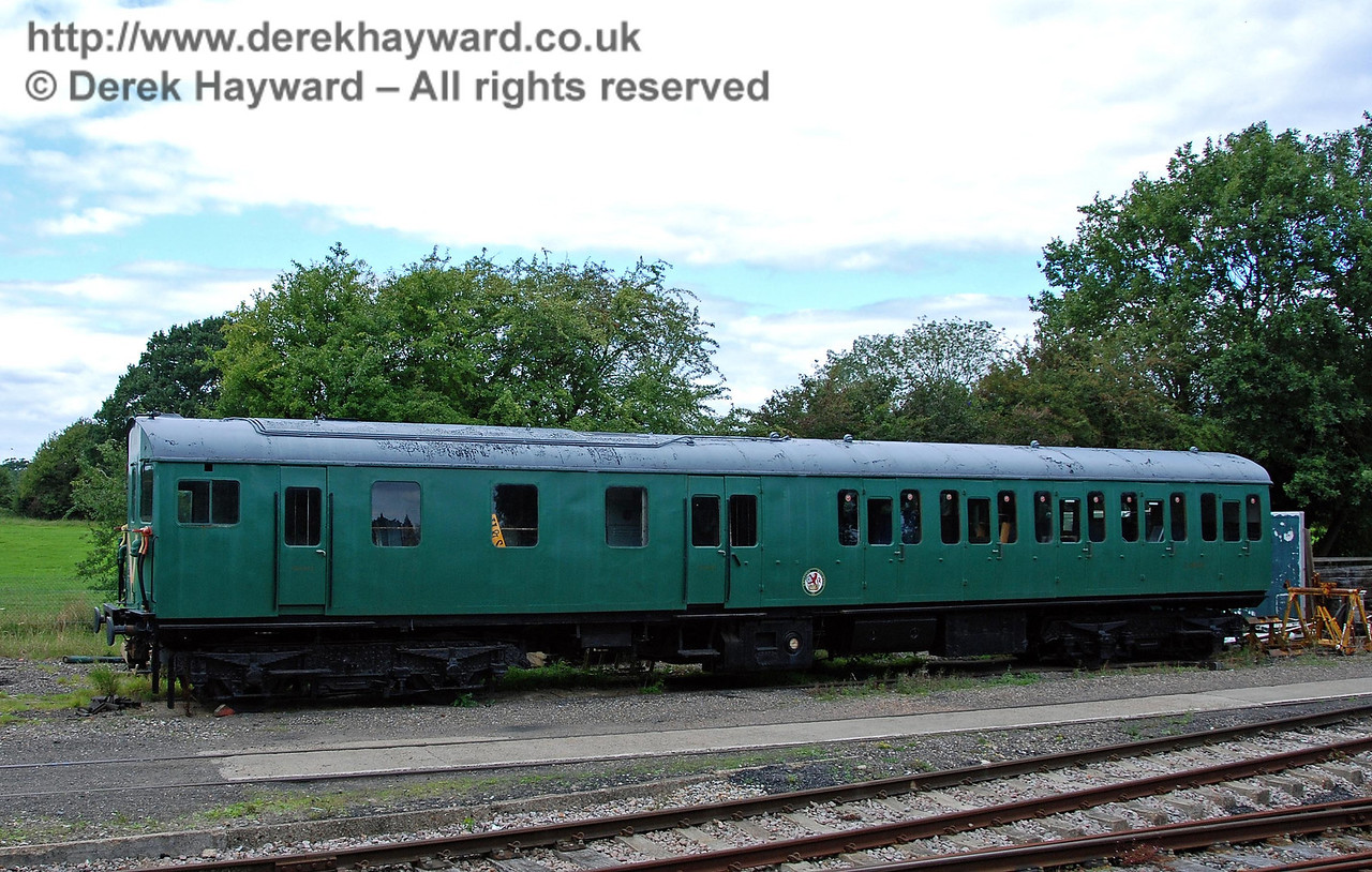 The motor coach from Thumper 1123 outside Isfield shed.  02.09.2007