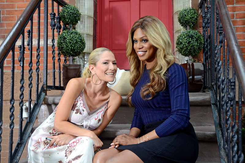 """COBBLE HILL, BROOKLYN, NEW YORK - JULY 15: """"On the stoop"""" with Cat Greenleaf and actress Laverne Cox on July 15, 2015 in Brooklyn, New York. (Photo by Lukas Maverick Greyson)"""