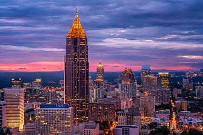 Atlanta skyline during sunset
