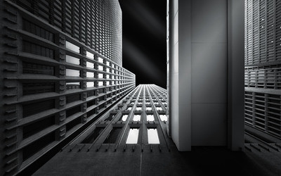 looking up, black and white