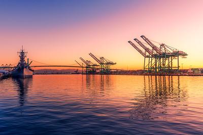 Port of LA at sunrise