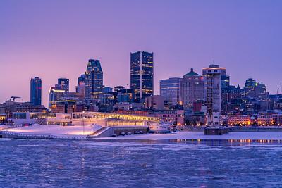 Montreal skyline at sunset