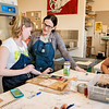 Instructor of Art Leigh Beavers and her print-making class.