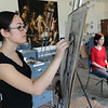 Emily Leventhal '15 draws a portrait of Sirocco Hamada-Sweren '13 in the Wilson Hall art studio.