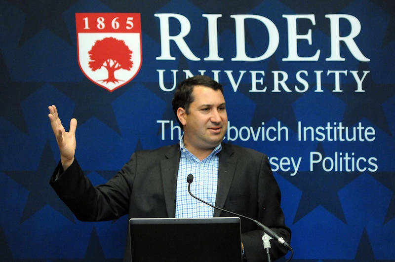 Daniel Gross discussed the American economy at Rider University on March 11.