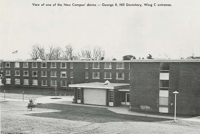 Wing C entrance to Hill Residence Hall in 1962.